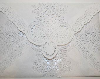 Lace Wedding Envelopes, Doily Envelopes, Vintage Lace Envelopes, Handmade Envelopes, Set of 25