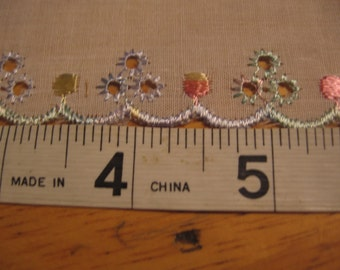 """9 Yards of 2"""" Wide Eyelet Trim with Pastel Flowers"""