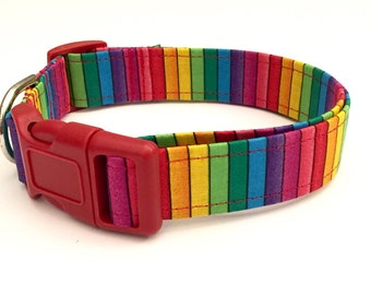 Rainbow stripes dog collar