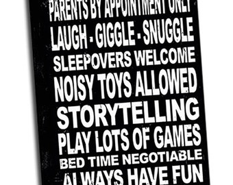 "Grandparent Rules 12""x36"" Wrapped Canvas Wall Art"