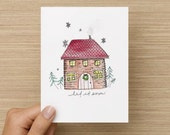 Christmas Card, Christmas Cabin, Happy Holidays, Folded Greeting Card, Rustic Christmas, Winter Card, Hand painted, Cabin, Snowflake, Snow