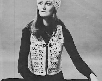 Crochet Pattern PDF, Crochet Cap Pattern, Crochet Vest Pattern, Instant Download, Vintage Crochet Pattern, Boho, Accessories, 1960's