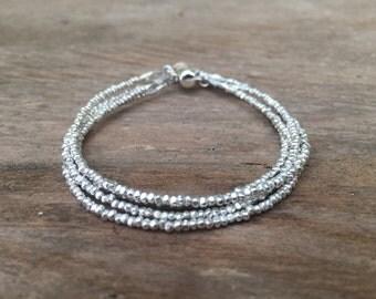 Karen Hill Tribe Silver Multi-Strand Bracelet, Beaded Bracelet