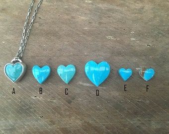 Heart Necklace, Custom Turquoise Heart Necklace, Sterling Silver Turquoise Gemstone December Birthstone Necklace
