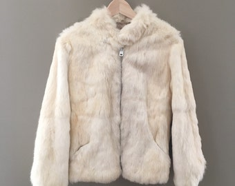 Vintage Off White Rabbit Fur Coat