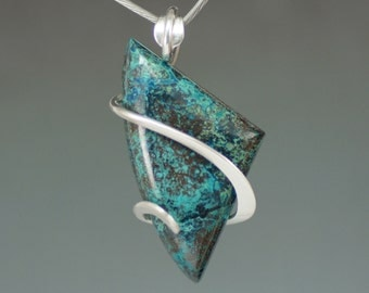 Chrysocolla Azurite Freform Cold Forged Sterling Silver Pendant