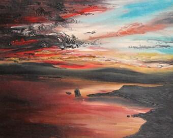 Vintage oil painting impressionist seascape