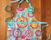 toddler apron, reversible toddler apron, child apron, aqua pink floral toddler apron, kids apron, toddler girl gift