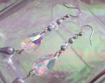 SALE earrings with pale blue and clear beads iridescent.