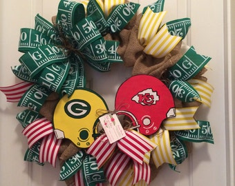 House divided dueling helmets wreath ,,,,, any team