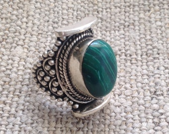 Malachite TibetanSilver Ring