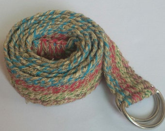 Eco Friendly Multicolor Bohemian Pure Hemp Belt