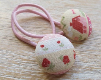 Fabric Covered Button Hair Elastic – House and Flower (Set of 2)