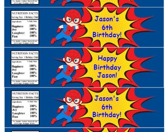 Spiderman Water Bottle Labels INSTANT DOWNLOAD Spiderman Birthday Party Water Bottle Labels Editable Text