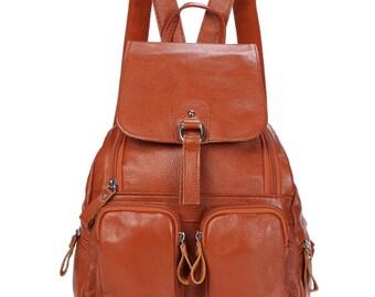 leather backpack, school backpack, girl backpack,Large-capacity backpack