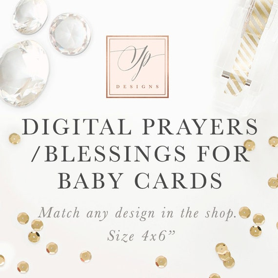 printable prayers or blessings for baby cards digital made to match