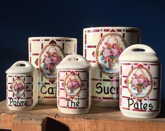 French Ceramic Jars. Vintage Kitchen Storage Containers. Spice Jars. Set Of  Five Jars