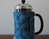 French Press Cozy - Modern Blue Fabric