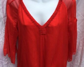 Vintage DIANE VON FURSTENBERG red silk top - Size 2 -