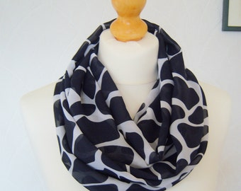 Navy and white infinity scarf loop scarf chiffon