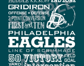 Phiadelphia Eagles Word Art 5x7 Print / Sign - Typography Art Print