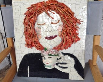 "3D Mixed Media Mosaic Wall Art entitled ""Emotion Blossomed On Her Cheeks"""