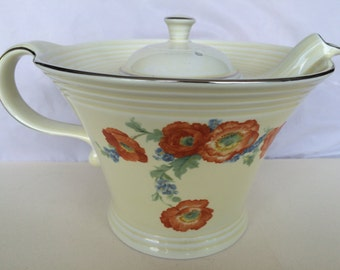 Vintage 1940s Orange Poppy by Hall Melody Teapot