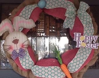 Easter Wreath, Chevron Wreath, Burlap Wreath, Spring Wreath