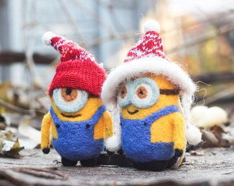 Set of two needle felted Minions, Christmas Gift, Christmas ornament
