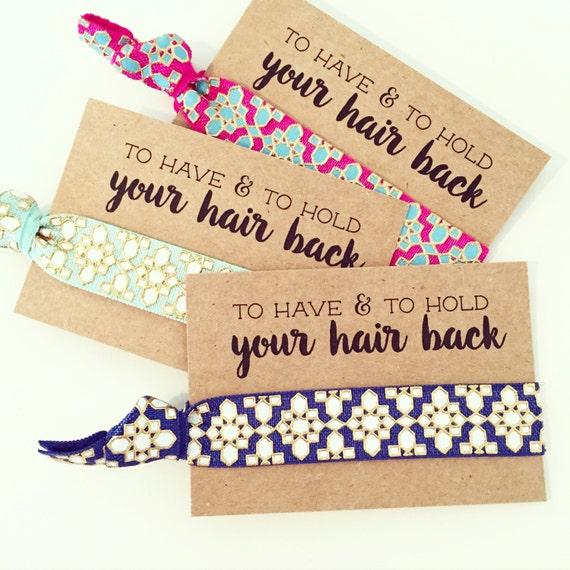 BOHEMIAN BACHELORETTE Hair Tie Favors | Boho Bachelorette Favors, Bride Tribe Bohemian Aztec Tribal Hair Tie Favor, Metallic Gold Hair Ties
