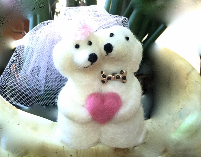 Needle felting dog wedding cake toppers figurine bride groom
