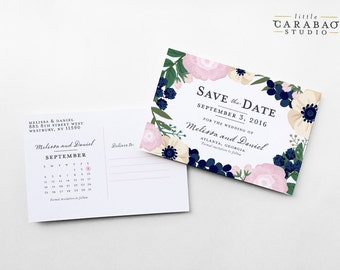 Save The Date Postcard Floral Wedding Save The Date Post Card - 4x6 Wedding Announcement - Little Carabao Studio #RB101