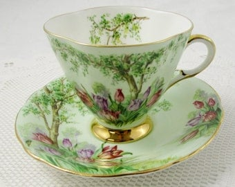 Windsor Green Tea Cup and Saucer with Trees and Tulips, Square Tea Cup, Vintage Teacup, Bone China
