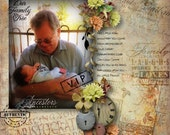 FAMILY ANCESTRY Digital Scrapbooking Kit, family tree word art, charts, 20 Papers & 56 Embellishments