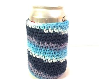 Soda can cozy, cotton can cozy, soda cozy, soda can cover, beer can cover, beer can cozy, crochet can cozy, crochet can coaster, blue cozy