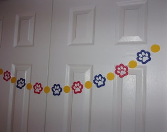 Paw Print Garland - Royal Blue, Primary Yellow & Red Cardstock Paper Dog, Puppy Birthday, Baby Shower Hanging Wall Door Decor