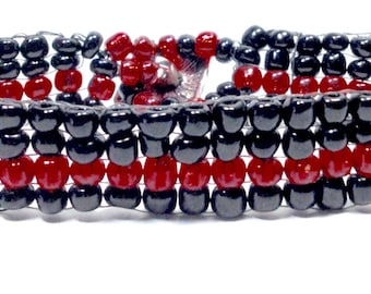 Thin Red Line Wives,Firefighter's Wives jewelry,Beaded jewelry,handwoven bracelet,red/black Jewelry,Giftsfor him,Gifts for her,Holiday gifts