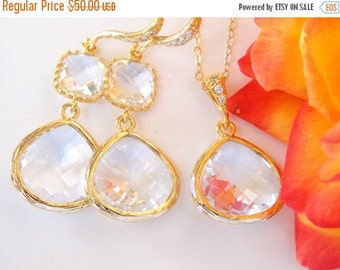 SALE Wedding Jewelry, Clear Earrings and Neklace, Gold Filled, Crystal, Cubic Zirconia, Set, Pendant, Bridesmaid Earrings, Bride Gifts, Long