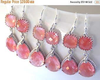 SALE Wedding Jewelry, Coral Earrings, Peach, Grapefruit, Silver, Bridesmaid Jewelry, Bridesmaids Earrings, Bridesmaid Gift, Dangle,Wedding G