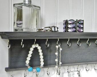 "24"" Necklace Bracelet Holder Jewelry Organizer - Modern Rustic Design - Wall Mounted Necklace Hanger Gray Finish - Handmade - Cedar Wood"