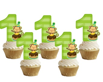 1st birthday Monkey cupcake toppers (24pcs)