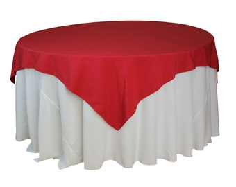 72 X 72 Inches Red Table Overlays, Square Red Tablecloths   Wholesale Red  Table Linens