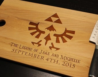 """Personalized The Legend of Zelda Triforce Emblem Cutting Chopping Board w/ Hyrule Font for Him or Her Man Cave Geek Gamer Lover 17"""" x 11"""""""