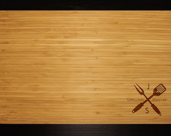 """Personalized Grilling Master Bottom Right Cutting Board Custom Engraved for Dad Grandpa Fathers Day Anniversary Summer Gift Large 18"""" x 11"""""""