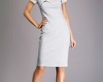 New Grey Jersey Dress.Fitted Dress casual.Short Sleeve Summer Dress With Bow