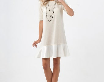 White Jersey Sweater Dress.Winter Short Mini Dress Tunic.
