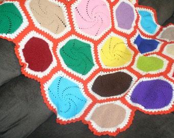 Vintage Handmade Unique Colorful Afghan Throw ,Handmade Vintage, Baby Blanket