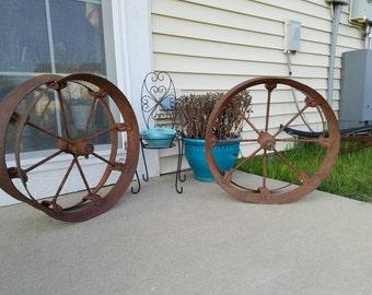 Two Corn Planter Wheels