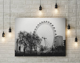 Black and White photography, London print,  London Eye, London photography,  wall art, digital download, printable, art, wheel