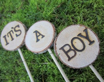 It's a boy cake topper, baby cake topper, woodland baby shower cake topper, rustic cake topper, baby boy cake topper, rustic baby shower